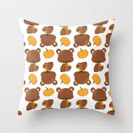 Pattern Of Cute Bears, Pumpkins, Fall Animals Throw Pillow