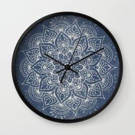 Boho Mandala, Flower, Navy Blue Wall Clock