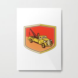 Vintage Tow Truck Wrecker Shield Retro Metal Print
