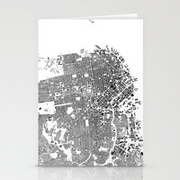 san francisco map Stationery Cards featuring San Francisco Map Schwarzplan Only Buildings by City Art Posters