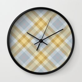 Yellow Gray Plaid Rug Wall Clock