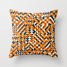 Orange Navy Color Overlay Irregular Geometric Blocks Square Quilt Pattern Throw Pillow