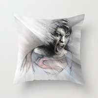 superheroes Throw Pillows featuring Superheroes SF by Alexis Marcou