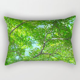 Canopy of Green, Leafy Branches with Blue Sky Rectangular Pillow