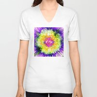 tie dye V-neck T-shirts featuring Textured Retro Tie Dye by Phil Perkins