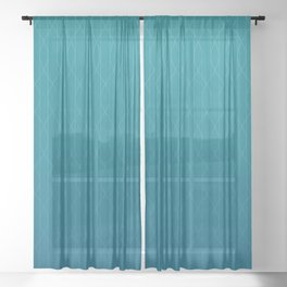 Wave pattern in teal Sheer Curtain
