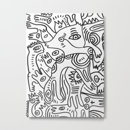 Graff Black and White Cool Non Sense Monsters  Metal Print