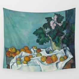 """Paul Cezanne """"Still Life with Apples and a Pot of Primroses"""" Wall Tapestry"""