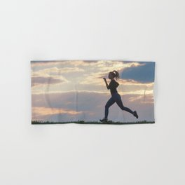Running woman morning workout. Female Runner. Jogging during sunrise. Workout in a Park. Sporty Hand & Bath Towel