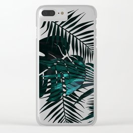 Green metallic tropical leaves Clear iPhone Case