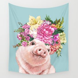 Flower Crown Baby Pig in Blue Wall Tapestry
