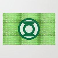 green lantern Area & Throw Rugs featuring Green Lantern by DeBUM