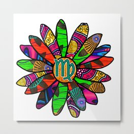 Fun & Vibrant Virgo Flower Metal Print