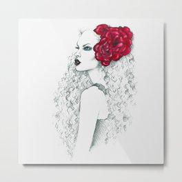 Roses & Curls Metal Print