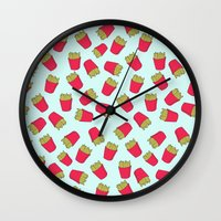 fries Wall Clocks featuring Fries by weheartstore