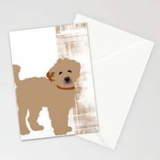 Brown Labradoodle dog Stationery Cards