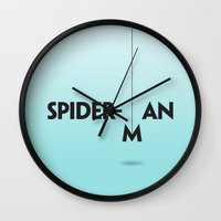spider man Wall Clocks featuring Spider-man by Dizzy Moments