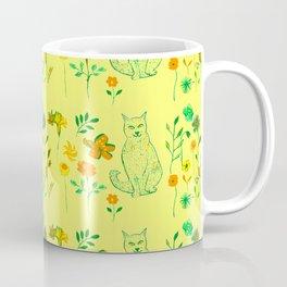 Cat in the garden - Pattern Coffee Mug
