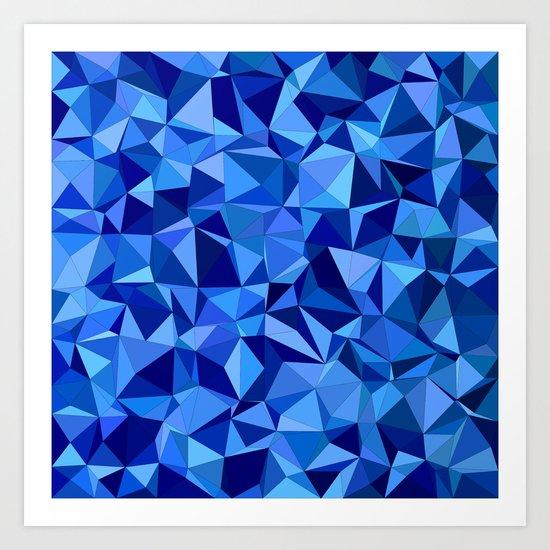 Blue tile mosaic Art Print