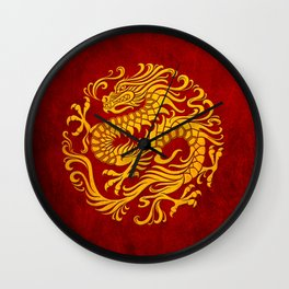 Traditional Yellow and Red Chinese Dragon Circle Wall Clock