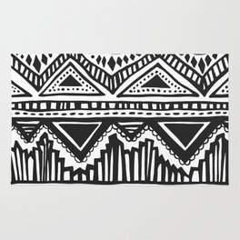 zig-zag handdrawn black and white Rug