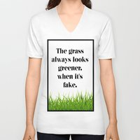 grass V-neck T-shirts featuring GRASS by C O R N E L L