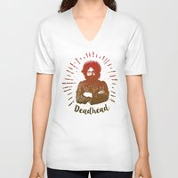 grateful dead V-neck T-shirts featuring Grateful Dead, Jerry Garcia by Burnish and Press