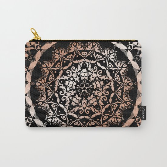 Rose Gold Black Damask Mandala Carry-All Pouch