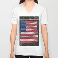 american flag V-neck T-shirts featuring American Flag by Photaugraffiti