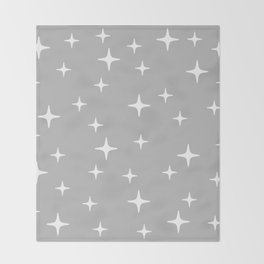 Mid Century Modern Star Pattern 443 Gray Throw Blanket