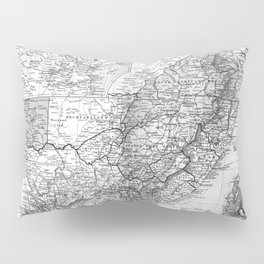 Vintage Map of South Africa (1892) BW Pillow Sham