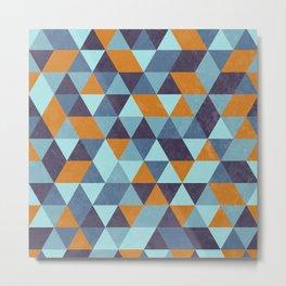 Triangle pattern orange & blue Metal Print