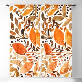 Autumn watercolor leaves Blackout Curtain