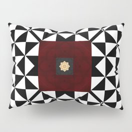 Ruby Red Marble w/ Blk & White Geometrica Pattern Insert Pillow Sham