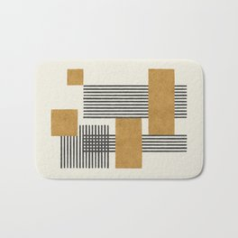Stripes and Square Composition - Abstract Bath Mat