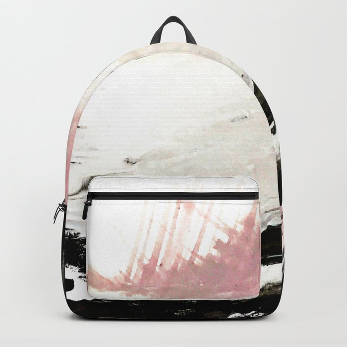 Crash: an abstract mixed media piece in black white and pink Backpack