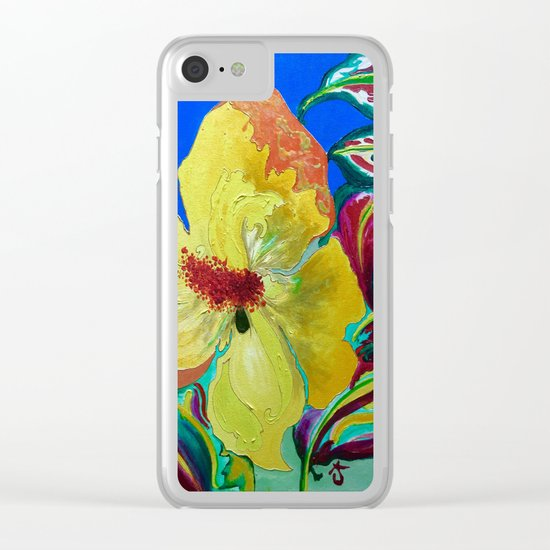 Birthday Acrylic Yellow Orange Hibiscus Flower Painting with Red and Green Leaves Clear iPhone Case