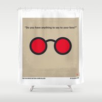 tarantino Shower Curtains featuring No139 My Natural Born Killers minimal movie poster by Chungkong
