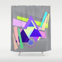 decal Shower Curtains featuring lines and triangles  by haroulita