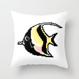 8-Bit Moorish Idol Pixel Art Tropical Fish Throw Pillow