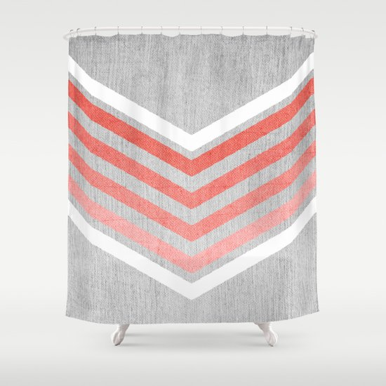 Coral Gradient Chevron on Silver Grey Wood Shower Curtain by ...