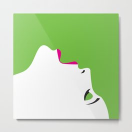 image of a woman's face green white Metal Print