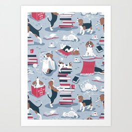 Life is better with books a hot drink and a friend // blue background brown white and blue beagles and cats and red cozy details Art Print