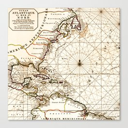 Vintage Atlantic Ocean Map Canvas Print
