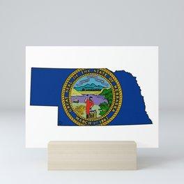 Nebraska Map with Nebraskan State Flag Mini Art Print