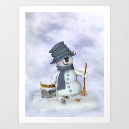 Little Snowman Art Print