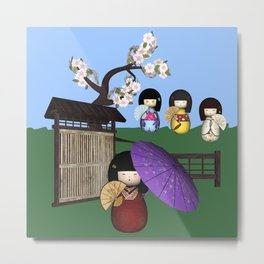 Kokeshi Sakura Doll Scene Metal Print