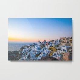 suset in Santorini Metal Print