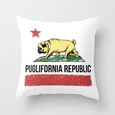 Puglifornia Republic Throw Pillow