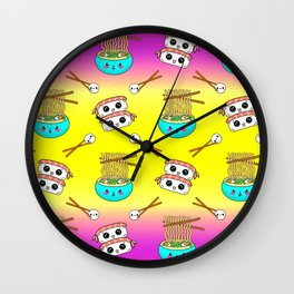 Cute funny Kawaii chibi little blue bowl ramen noodles, happy cheerful sushi with shrimp on top, rice balls and chopsticks bright yellow and pink pattern design. Nursery decor. Wall Clock